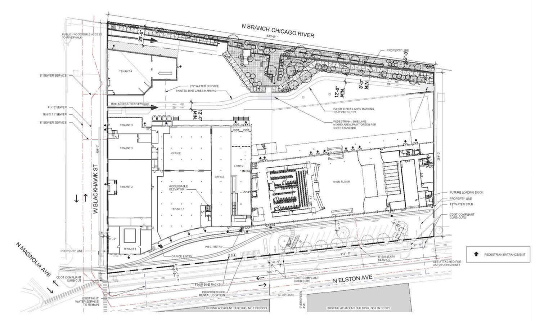 Site Plan for Morton Salt Development. Drawing by Lamar Johnson Collaborative
