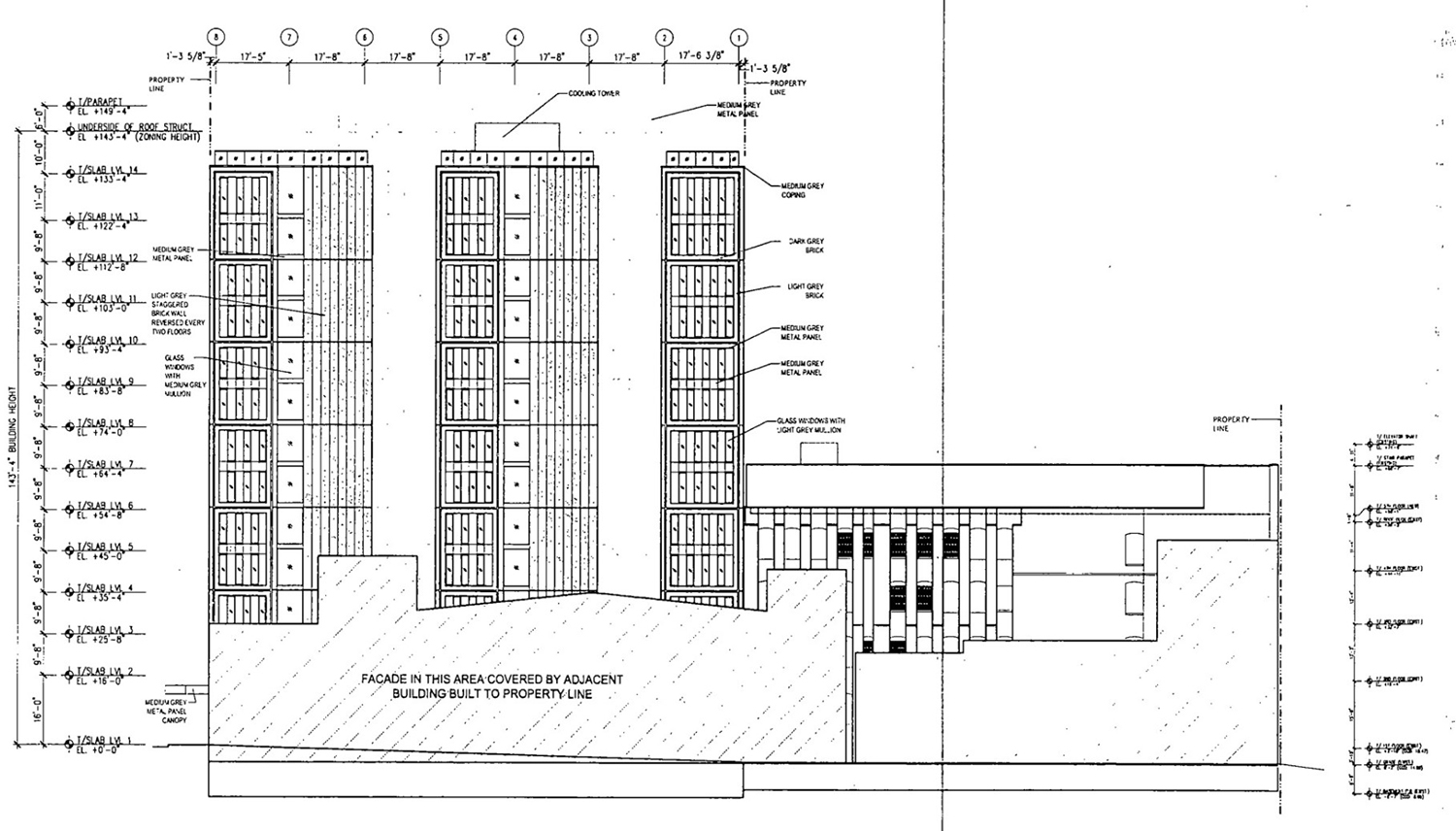 South Elevation for 311 N Sangamon Street and 310 N Peoria Street. Drawing by Hirsch MPG