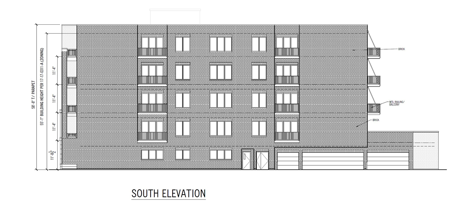 South Elevation for 3817 N Ashland Avenue. Drawing by 360 Design Studio