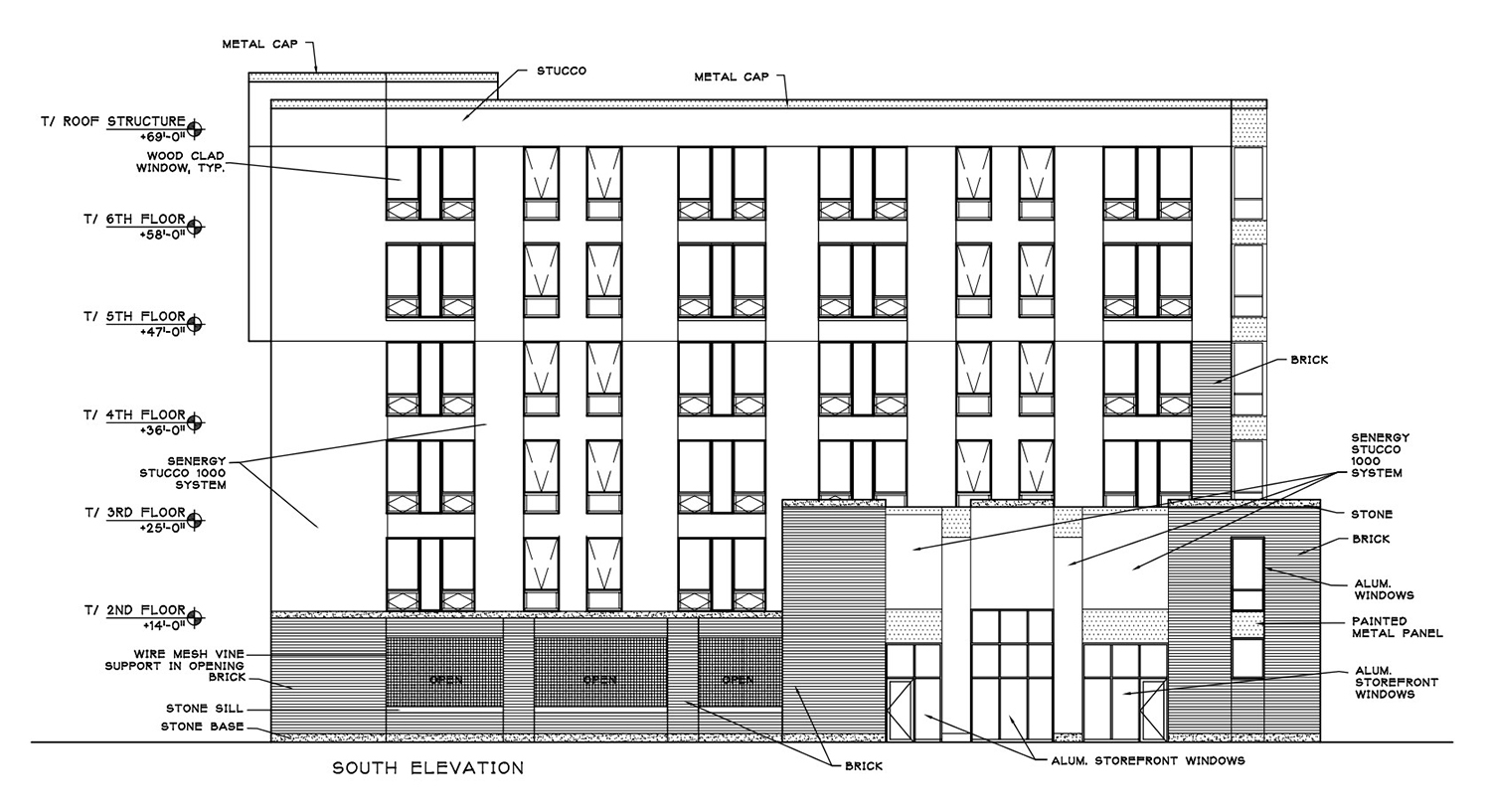 South Elevation for 835 W Addison Street. Drawing by Weese Langley Weese