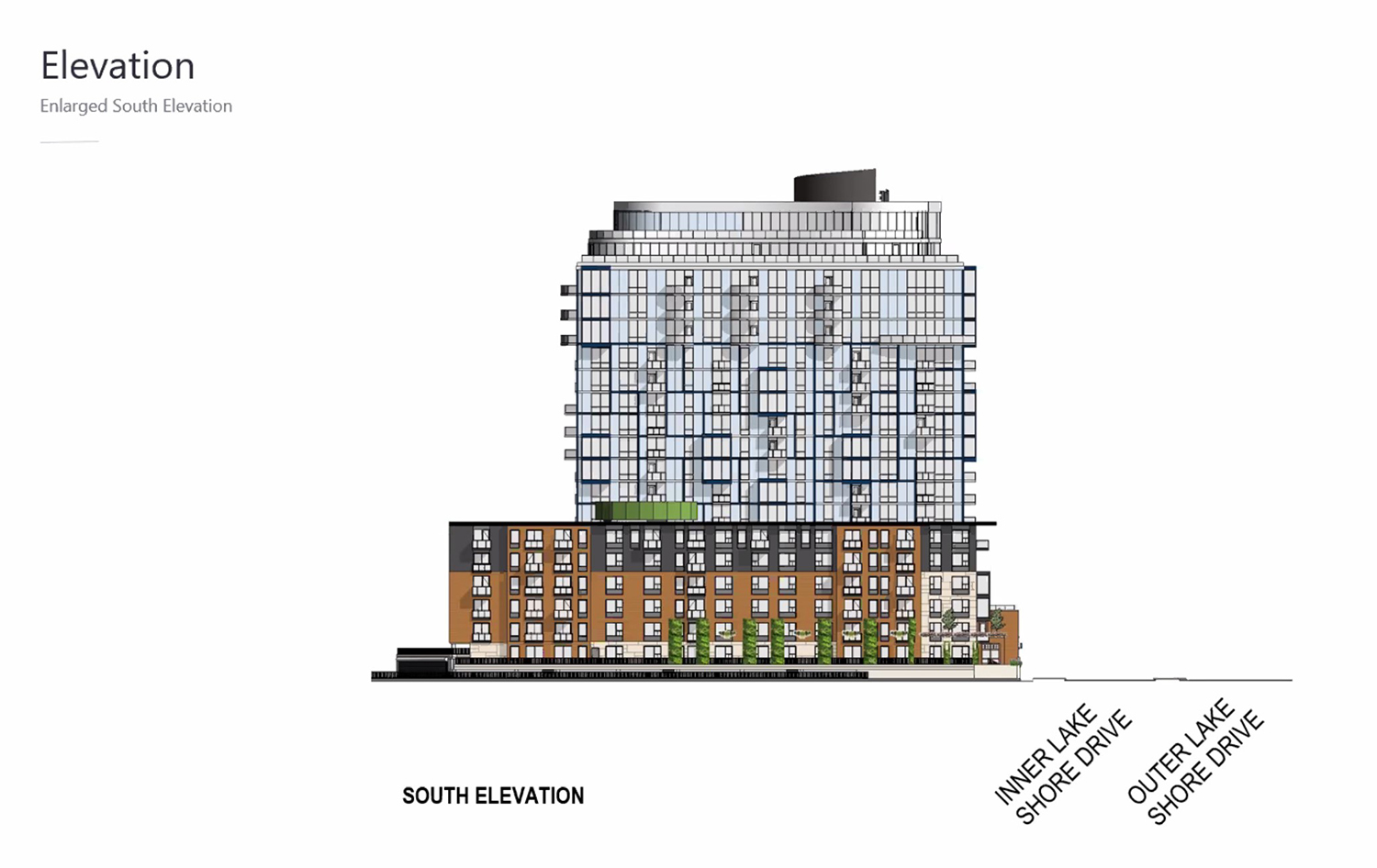 South Elevation of 3636 N Lake Shore Drive. Drawing by BKV Group