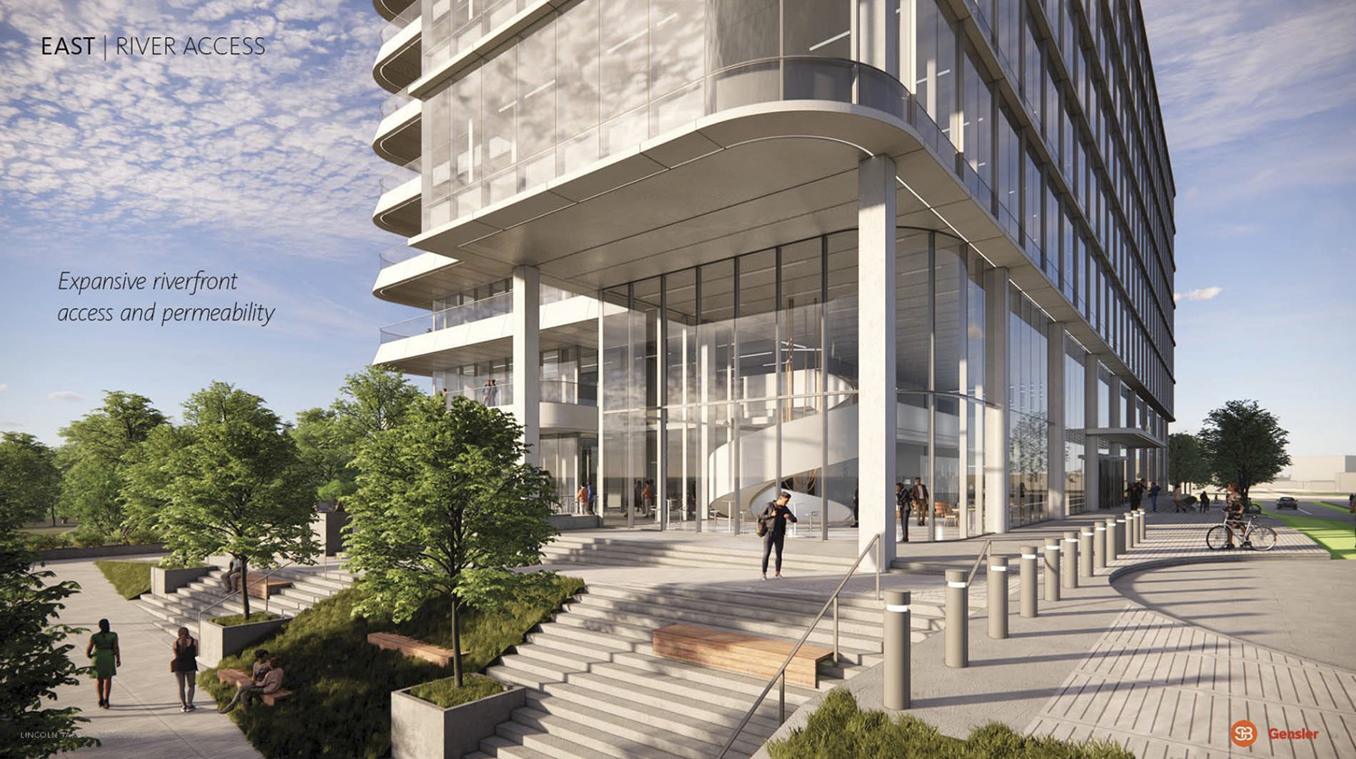 Streetscape at Life Sciences Building at Lincoln Yards. Rendering by Gensler