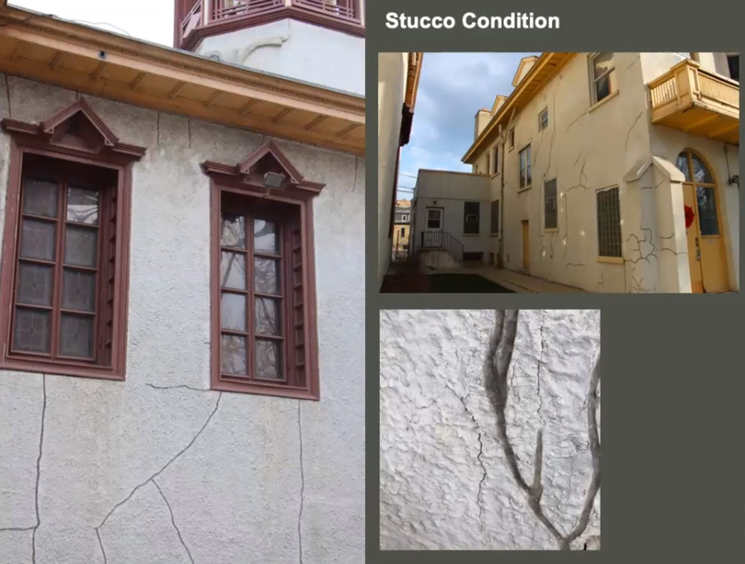 Stucco Condition on Holy Trinity Orthodox Cathedral and Rectory. Images by Landmarks Commission