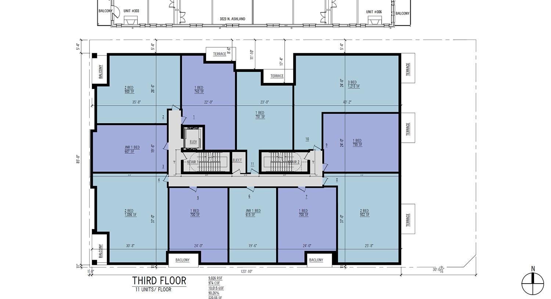 Third Floor Plan for 3817 N Ashland Avenue. Drawing by 360 Design Studio