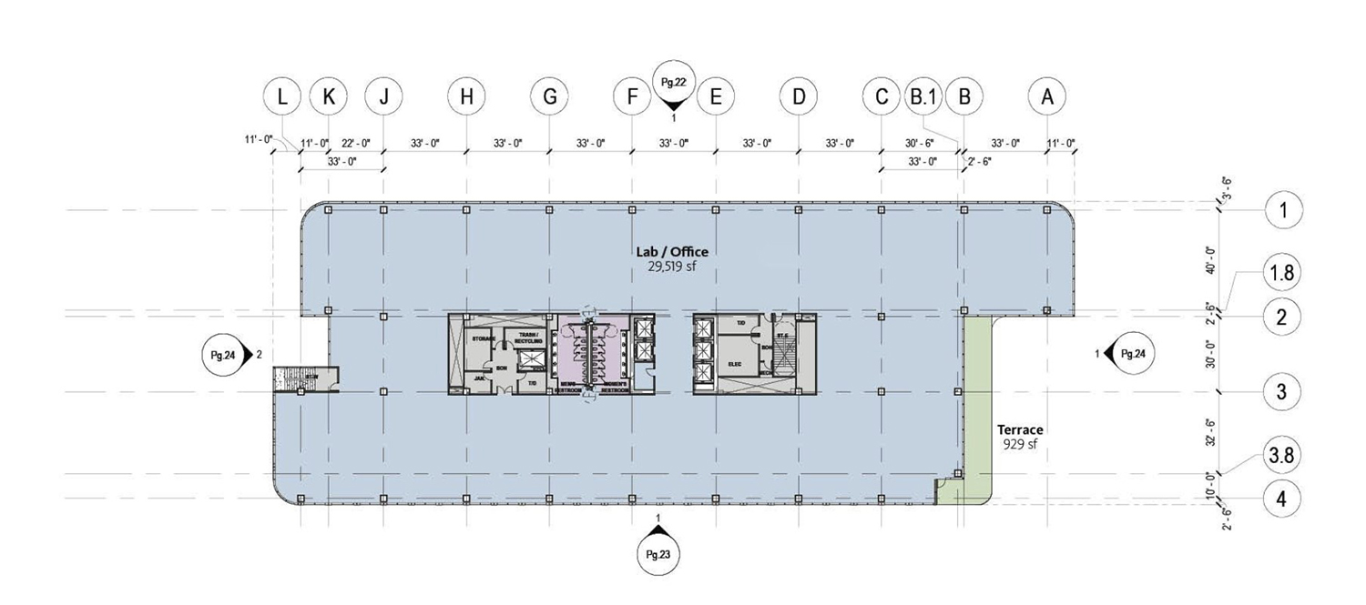 Typical Floor Plan for Life Sciences Building at Lincoln Yards. Drawing by Gensler
