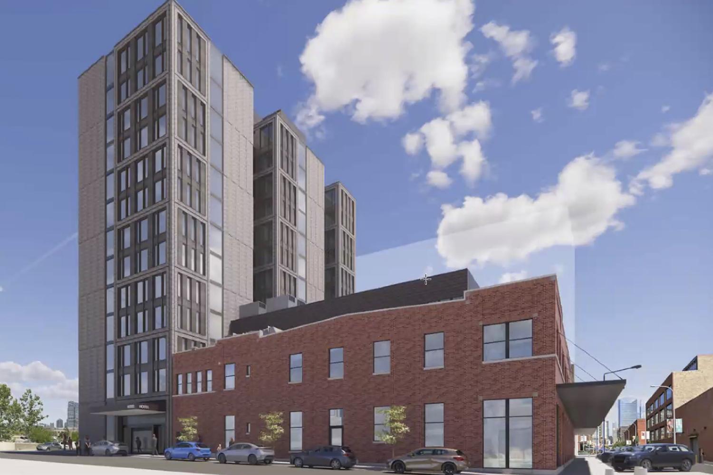 View of 311 N Sangamon Street and 310 N Peoria Street. Rendering by Hirsch MPG