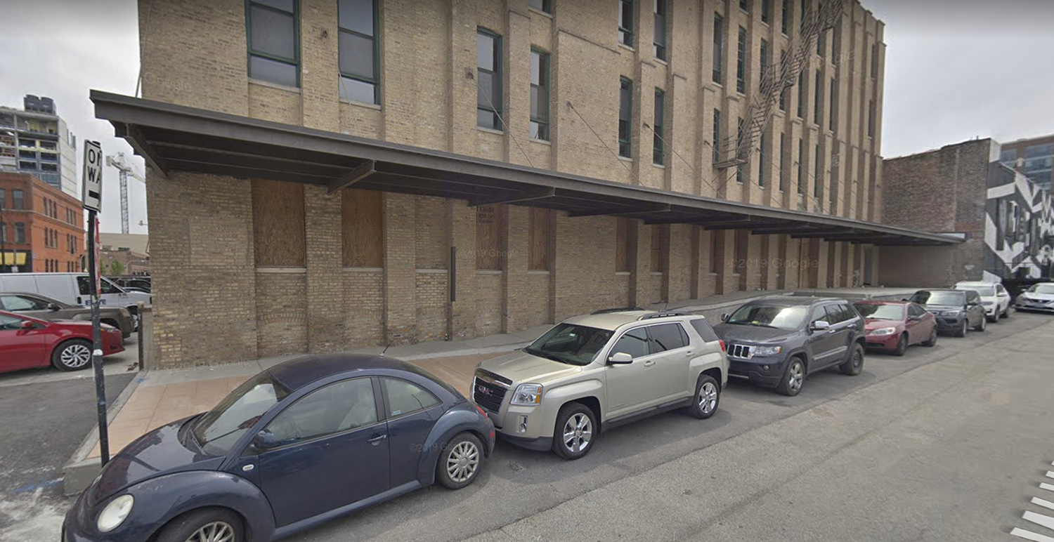 View of Existing Loading Dock and Canopy at 310 N Peoria Street via Google Maps