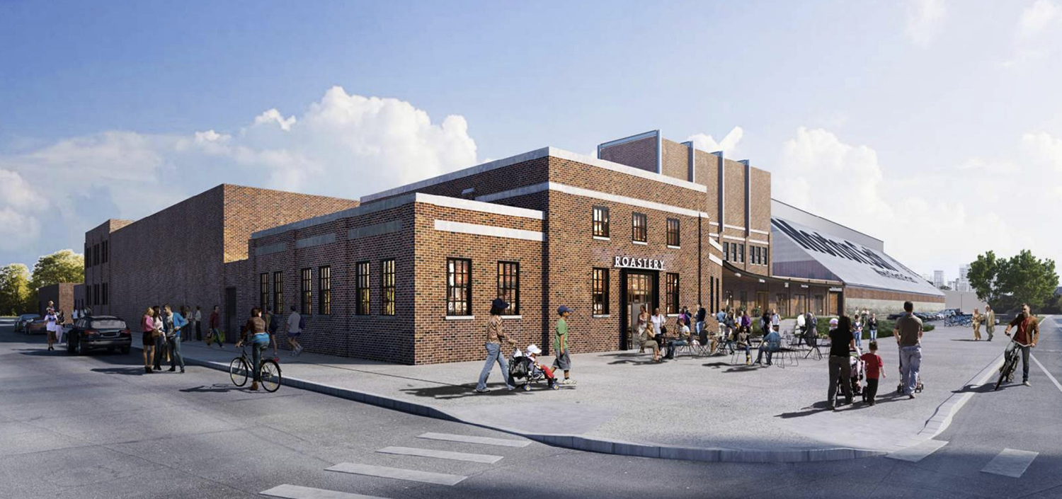 View of Packaging Buildings at Morton Salt Redevelopment. Rendering by Lamar Johnson Collaborative