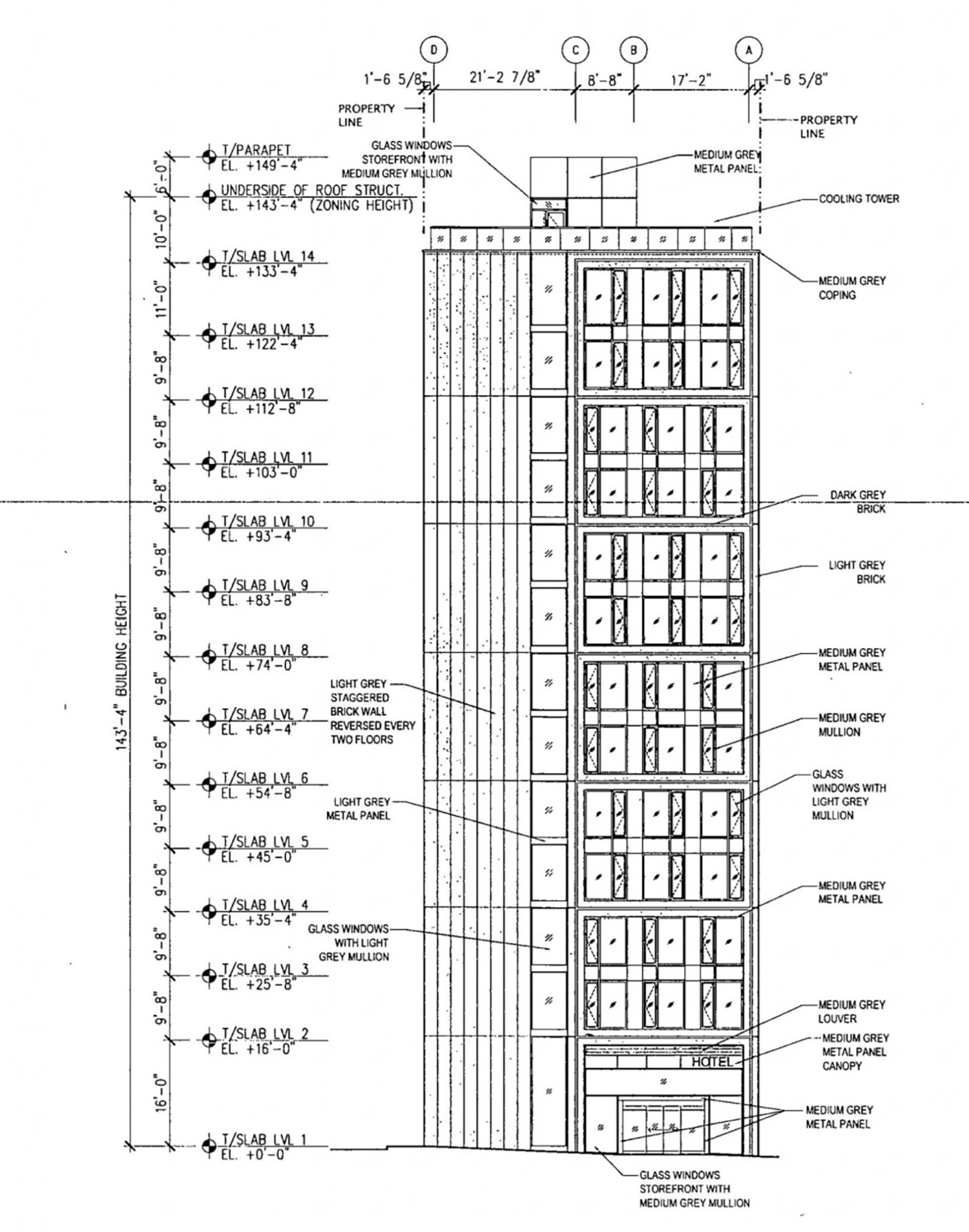 West Elevation for 311 N Sangamon Street and 310 N Peoria Street. Drawing by Hirsch MPG