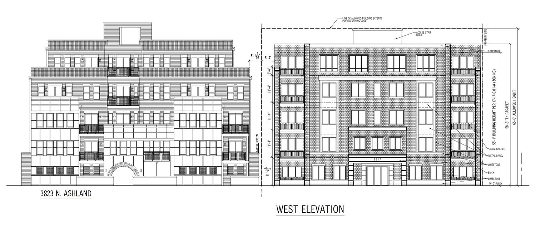 West Elevation for 3817 N Ashland Avenue. Drawing by 360 Design Studio