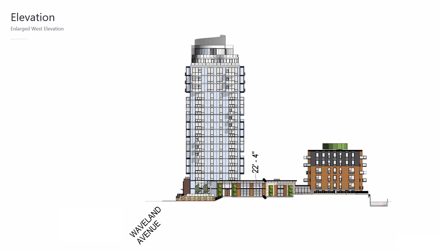 West Elevation of 3636 N Lake Shore Drive. Drawing by BKV Group
