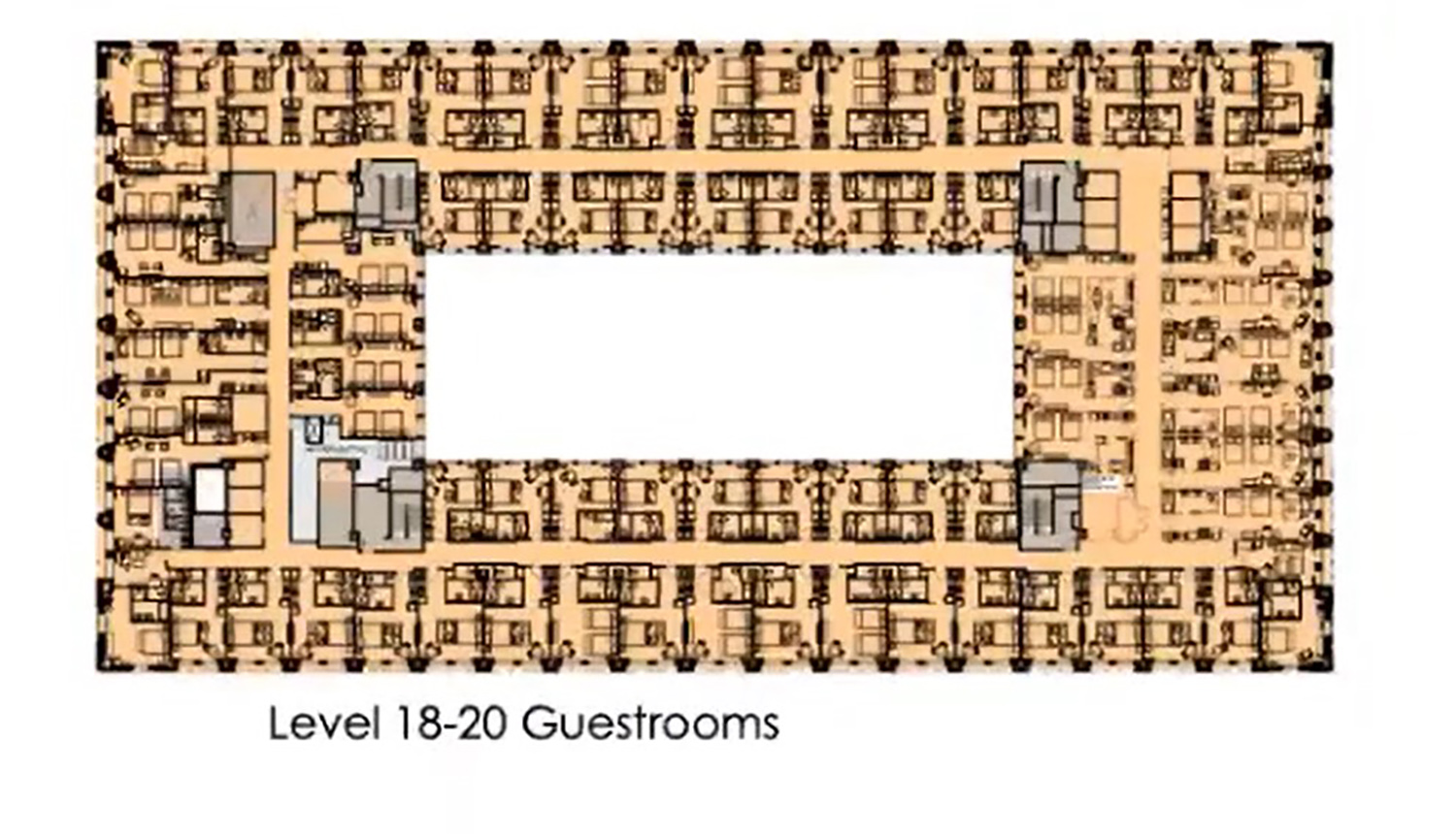 18-20 Guest Rooms Floor Plan for 208 S LaSalle Street. Drawing by The Prime Group