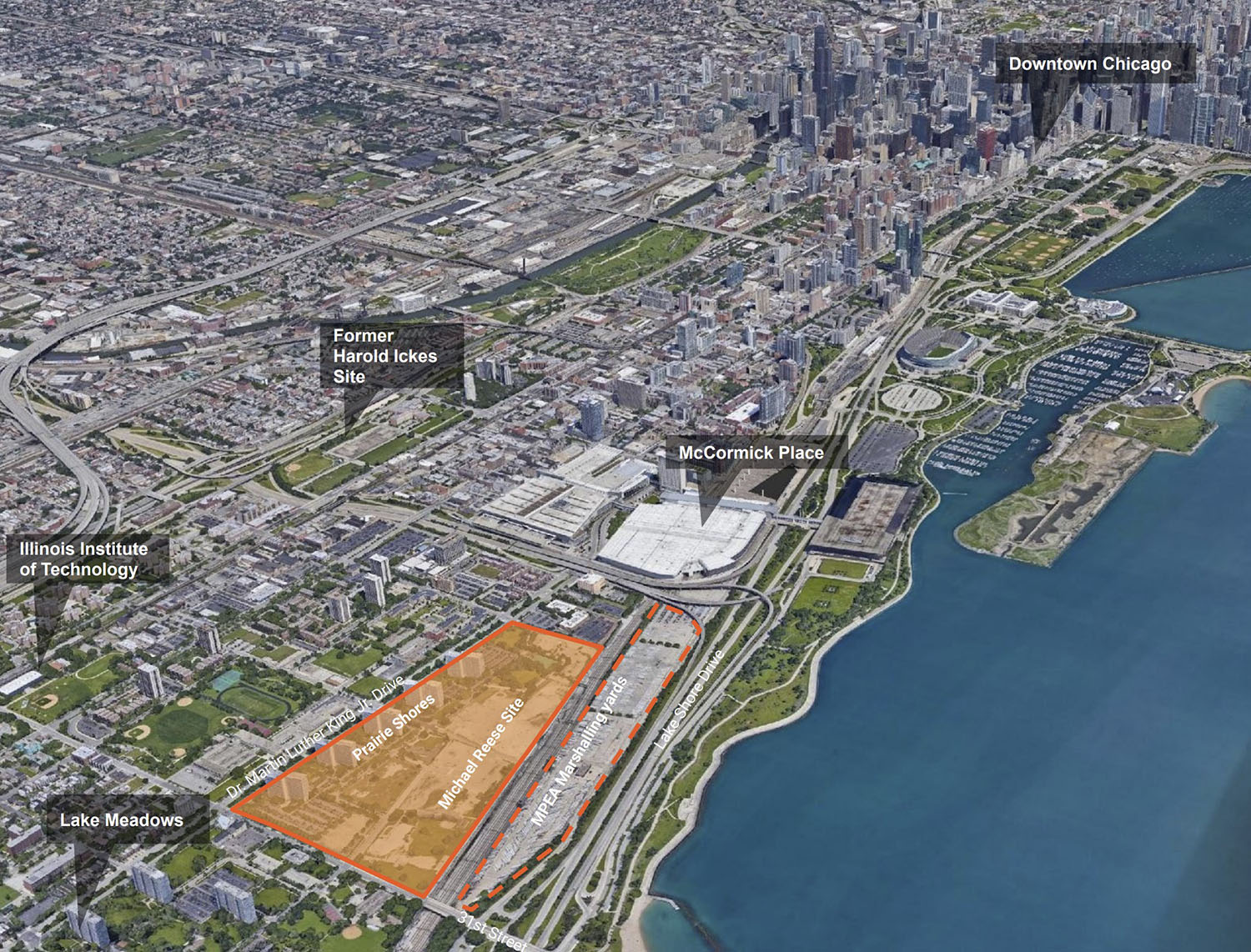 Aerial View of Bronzeville Lakefront Development Site. Diagram by GRIT Chicago