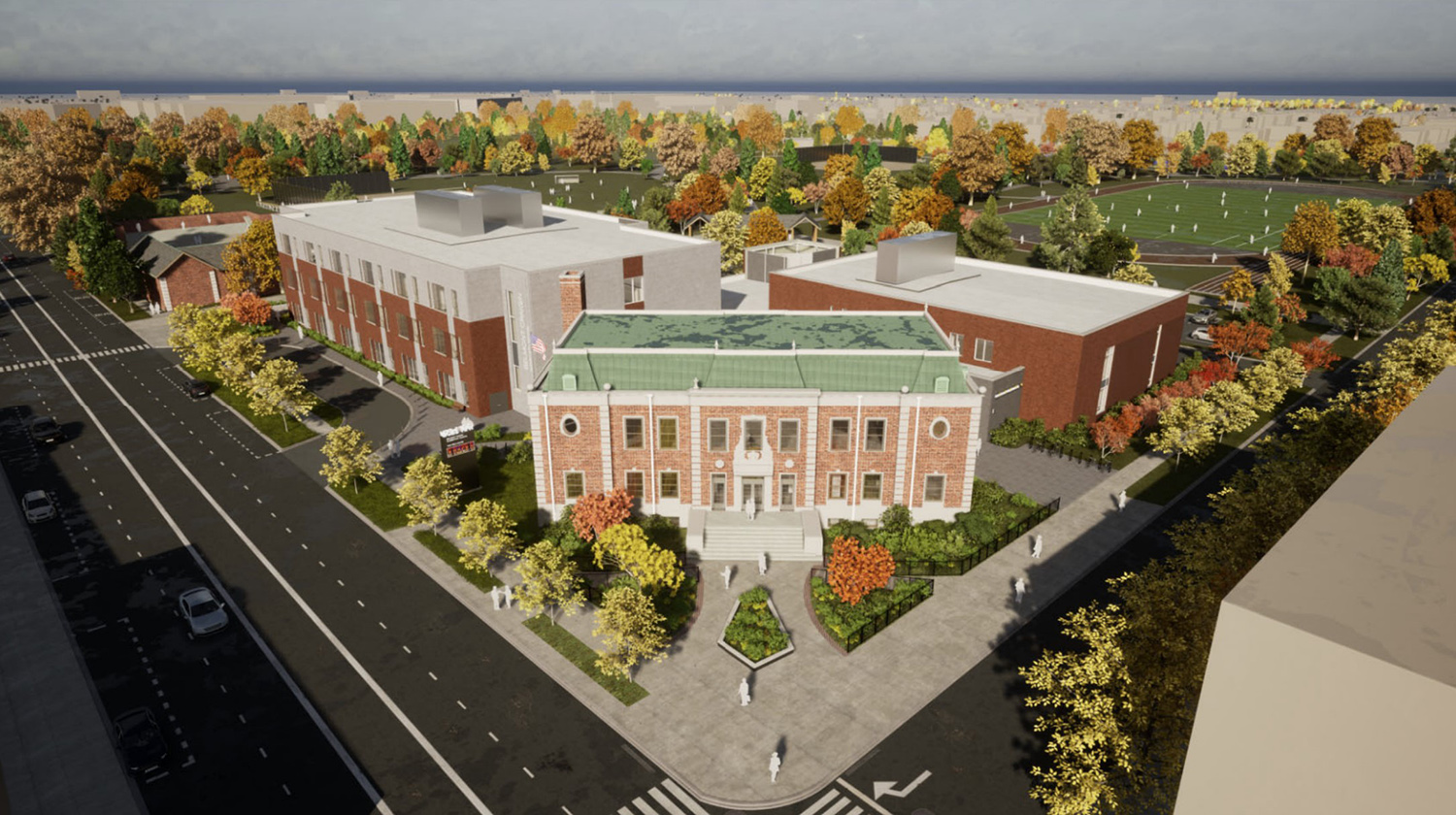 Belmont Cragin Elementary School at 6100 W Fullerton Avenue. Rendering by SMNGA and FORMA Architecture