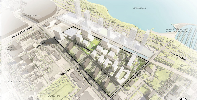 Bronzeville Lakefront Development. Rendering by GRIT Chicago