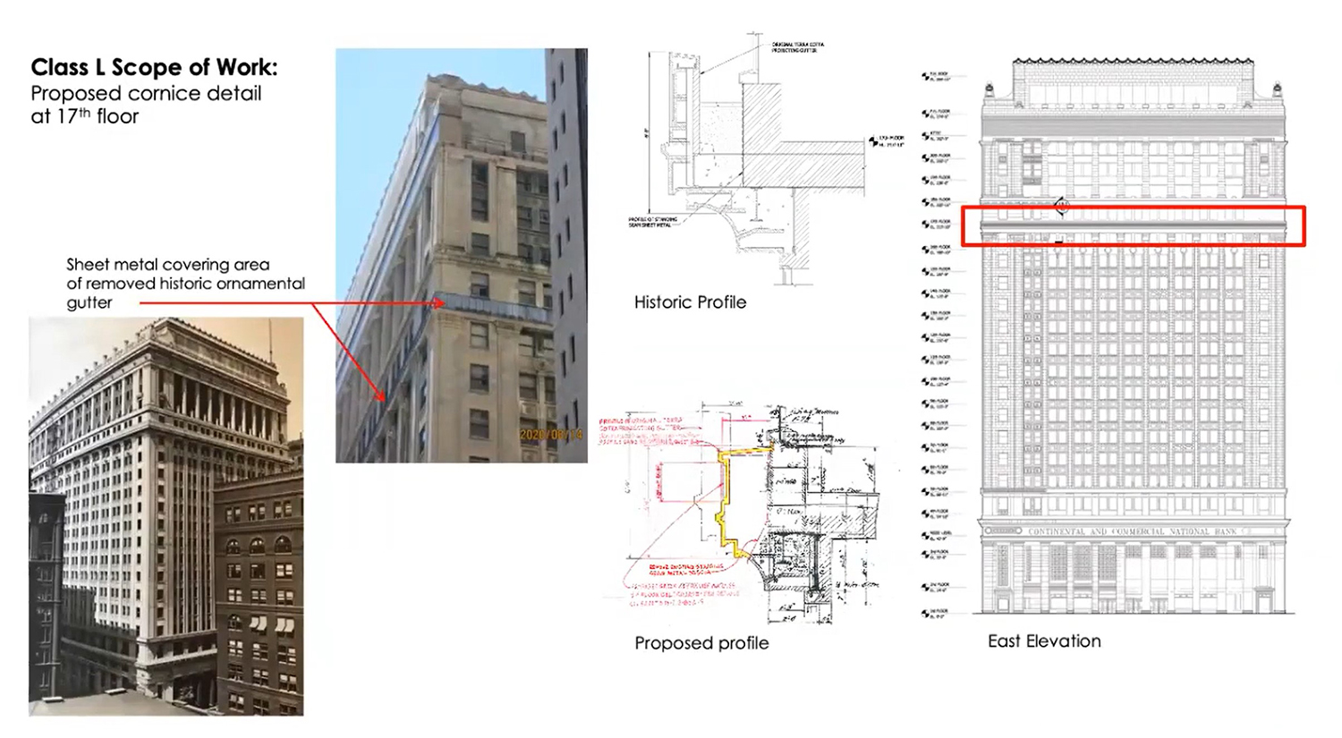 Cornice Scope of Work for 208 S LaSalle Street. Drawings by The Prime Group