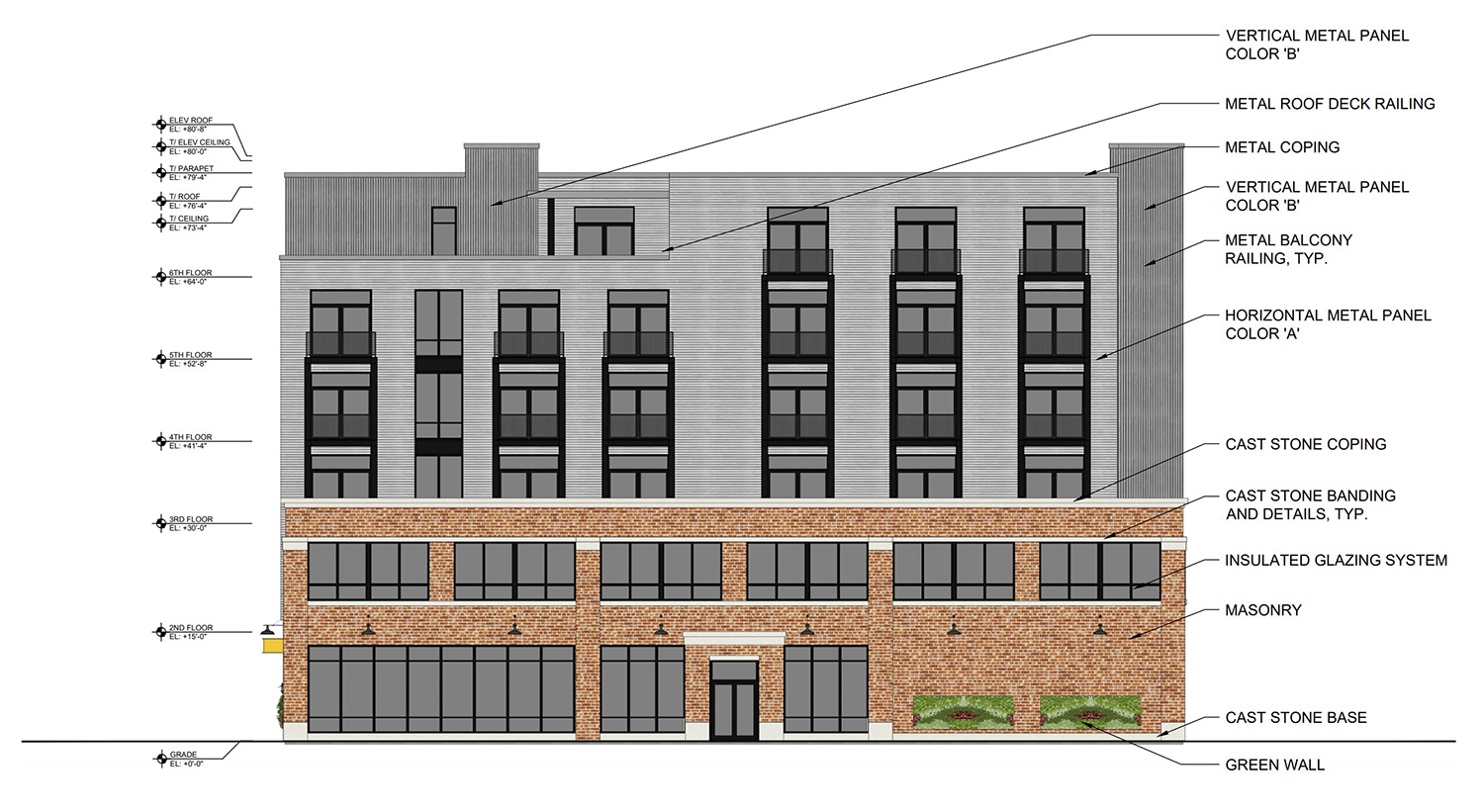 East Elevation of 1800 W Berenice Avenue. Drawing by Sullivan Goulette Wilson Architects