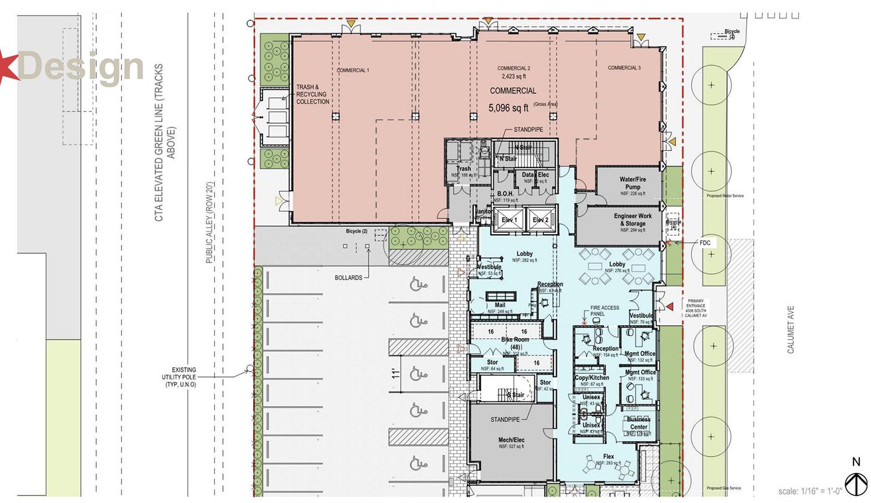Ground Floor Plan for 43Green Development. Drawing by Landon Bone Baker Architects