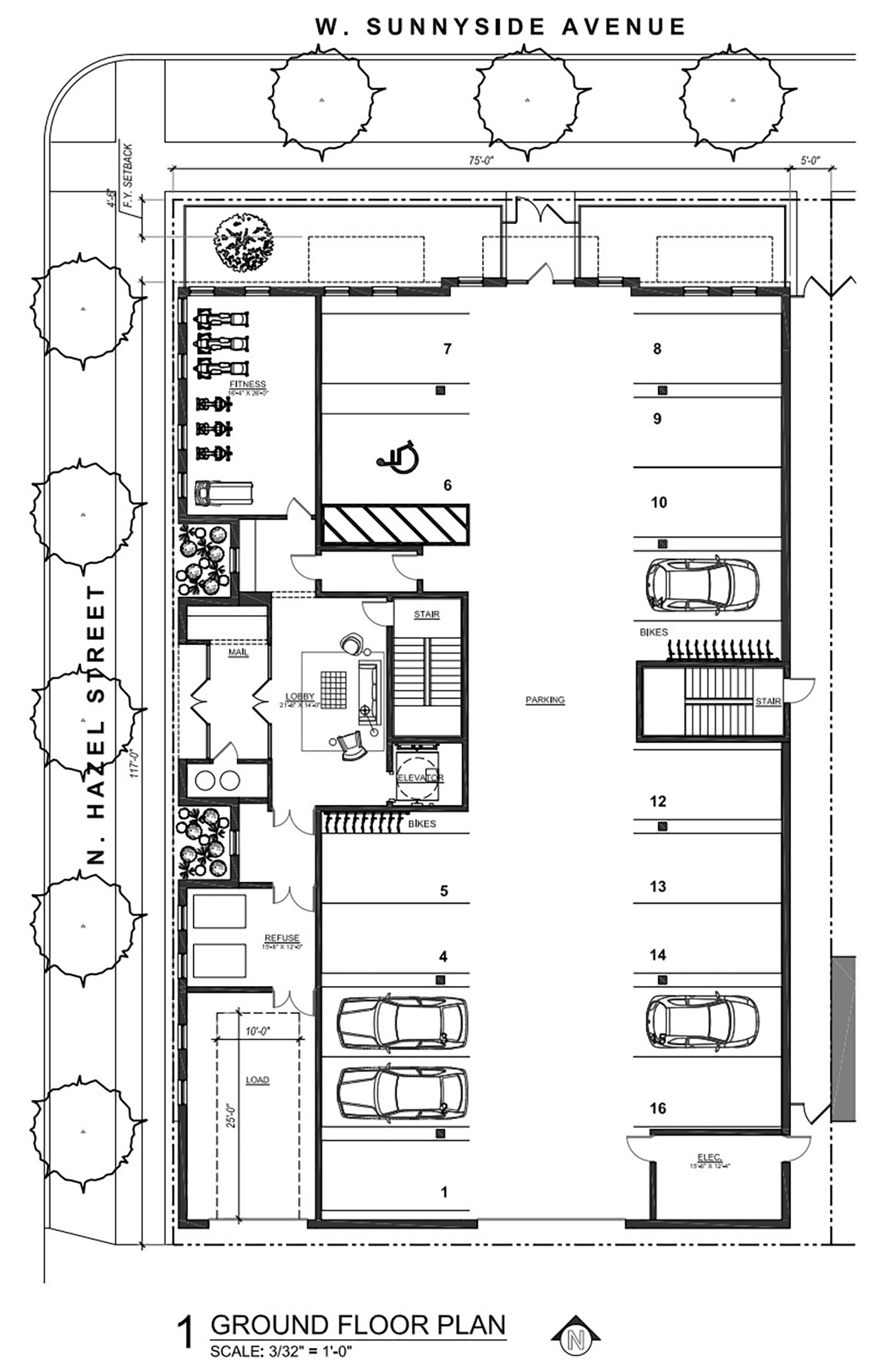 Ground Floor Plan for 4447 N Hazel Street. Drawing by SPACE Architects + Planners