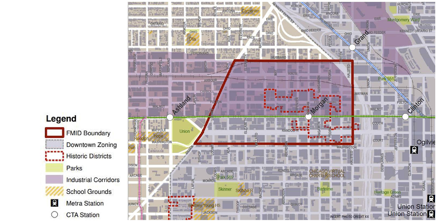 Map of Fulton Market Innovation District. Diagram by DPD