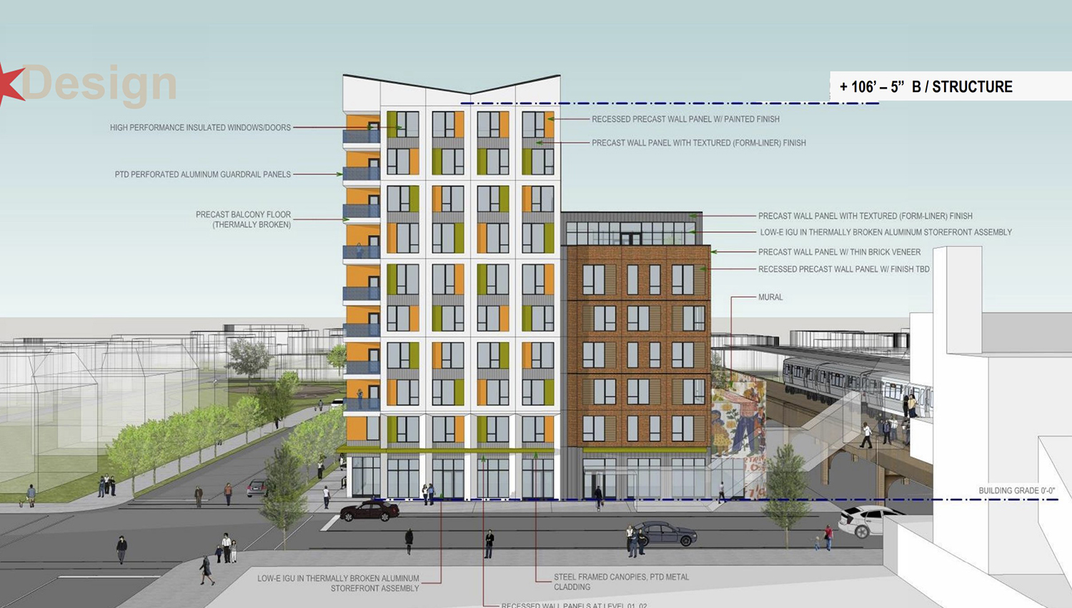 North Elevation for 43Green Development. Drawing by Landon Bone Baker Architects
