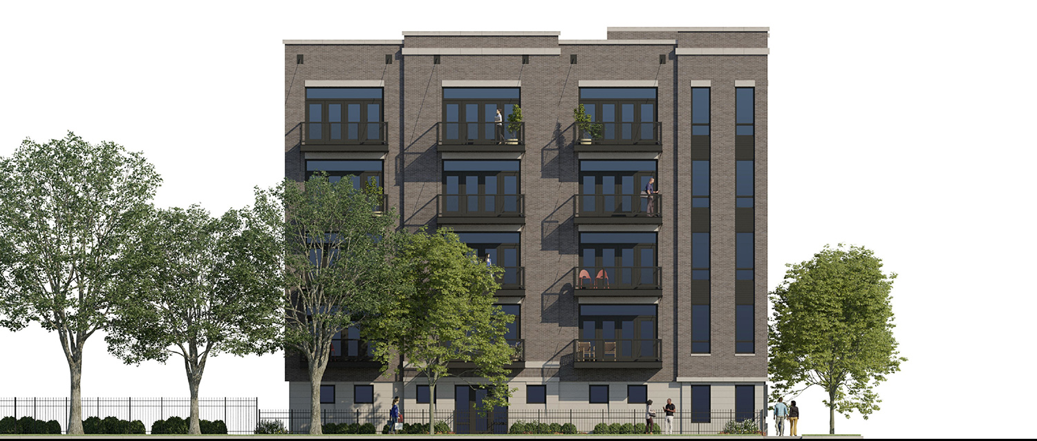 North Elevation of 4447 N Hazel Street. Rendering by SPACE Architects + Planners