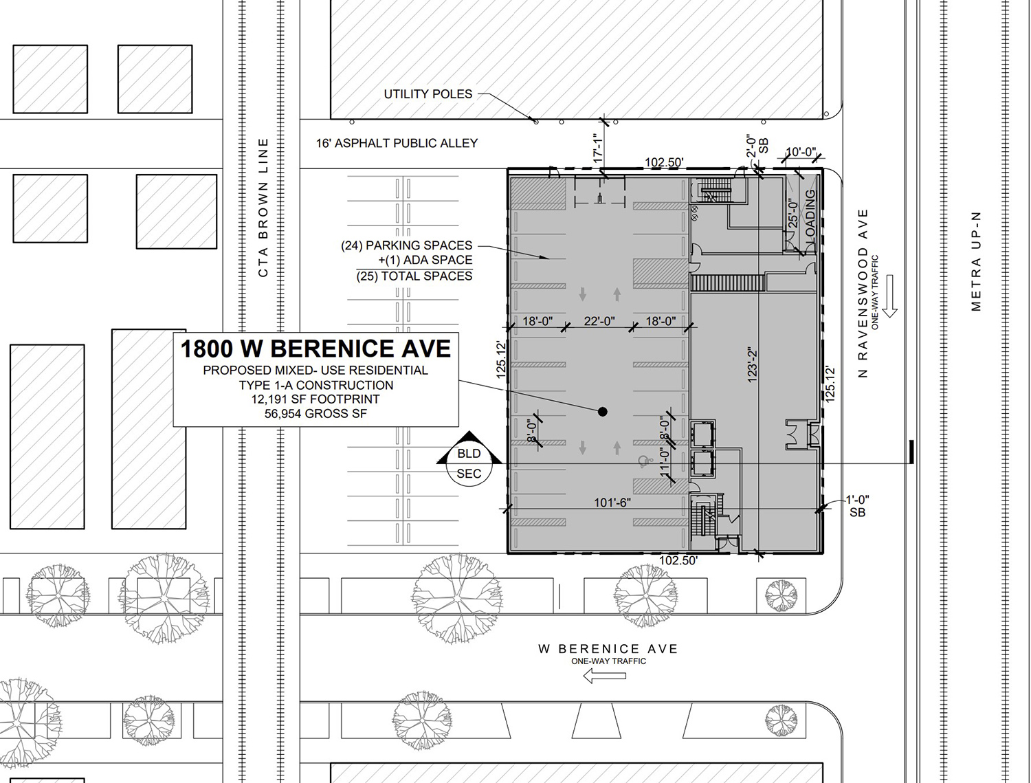 Site Plan for 1800 W Berenice Avenue. Drawing by Sullivan Goulette Wilson Architects