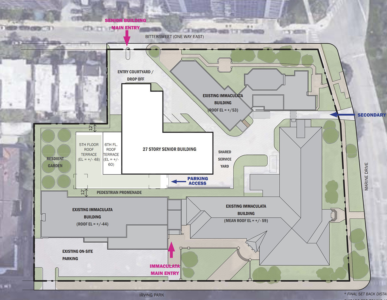 Site Plan for 640 W Irving Park Road. Drawing by Perkin Eastman and Level Architecture