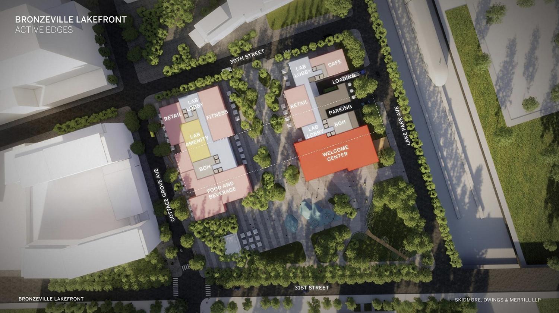 Site Plan for ARC Innovation Center at Bronzeville Lakefront Development. Rendering by GRIT Chicago