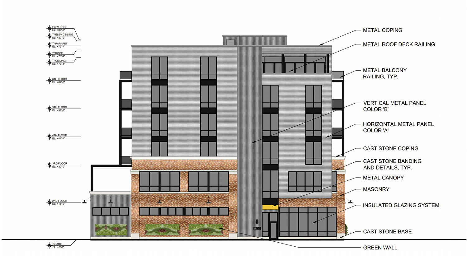 South Elevation of 1800 W Berenice Avenue. Drawing by Sullivan Goulette Wilson Architects