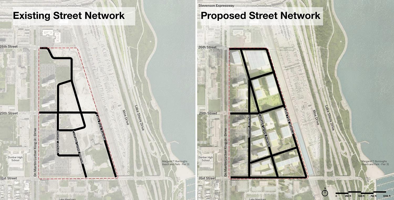 Street Network for Bronzeville Lakefront Development. Rendering by GRIT Chicago