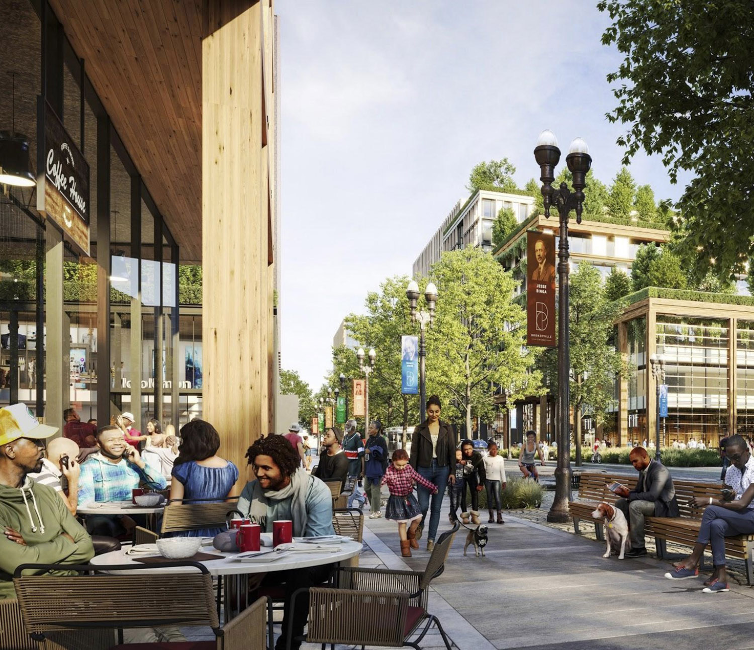Streetscape of Bronzeville Lakefront Development. Rendering by GRIT Chicago