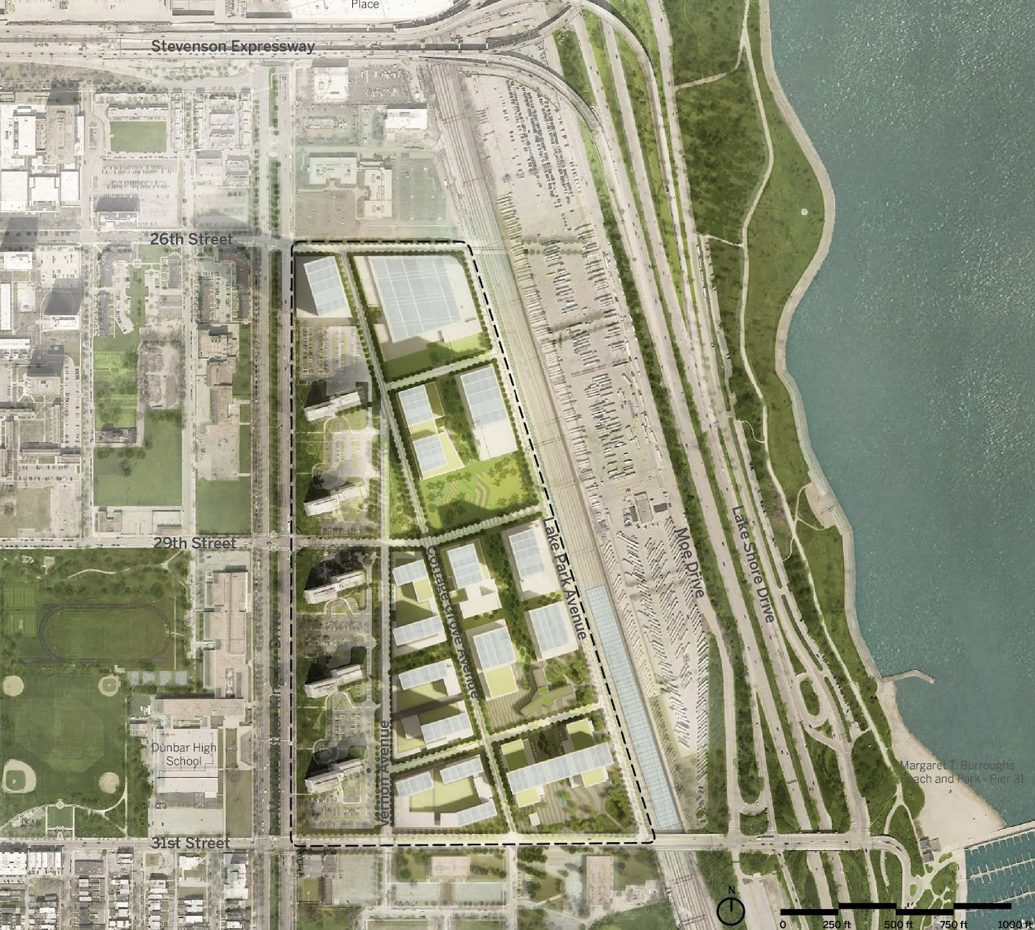Top View of Bronzeville Lakefront Development. Rendering by GRIT Chicago