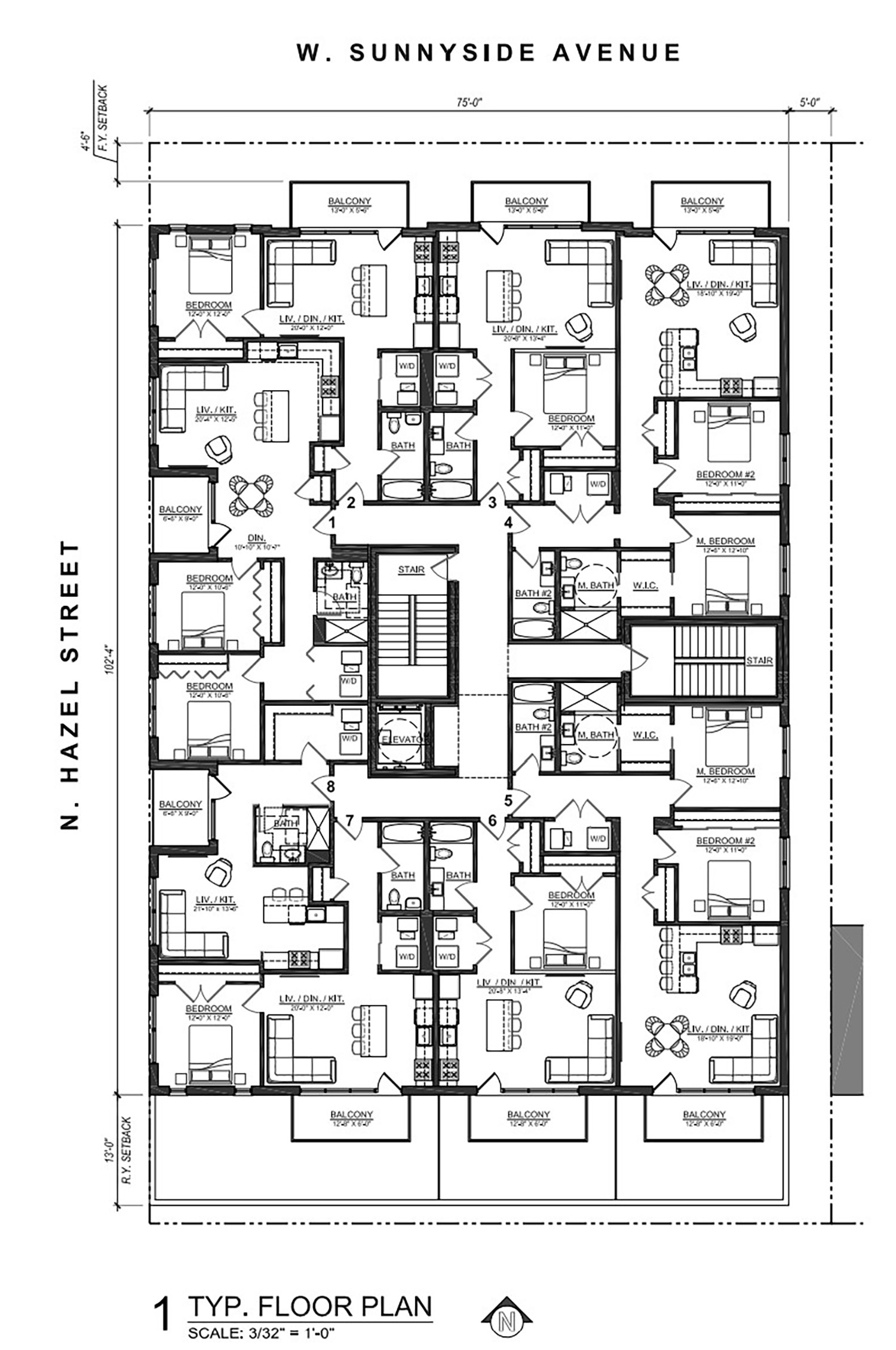Typical Floor Plan for 4447 N Hazel Street. Drawing by SPACE Architects + Planners
