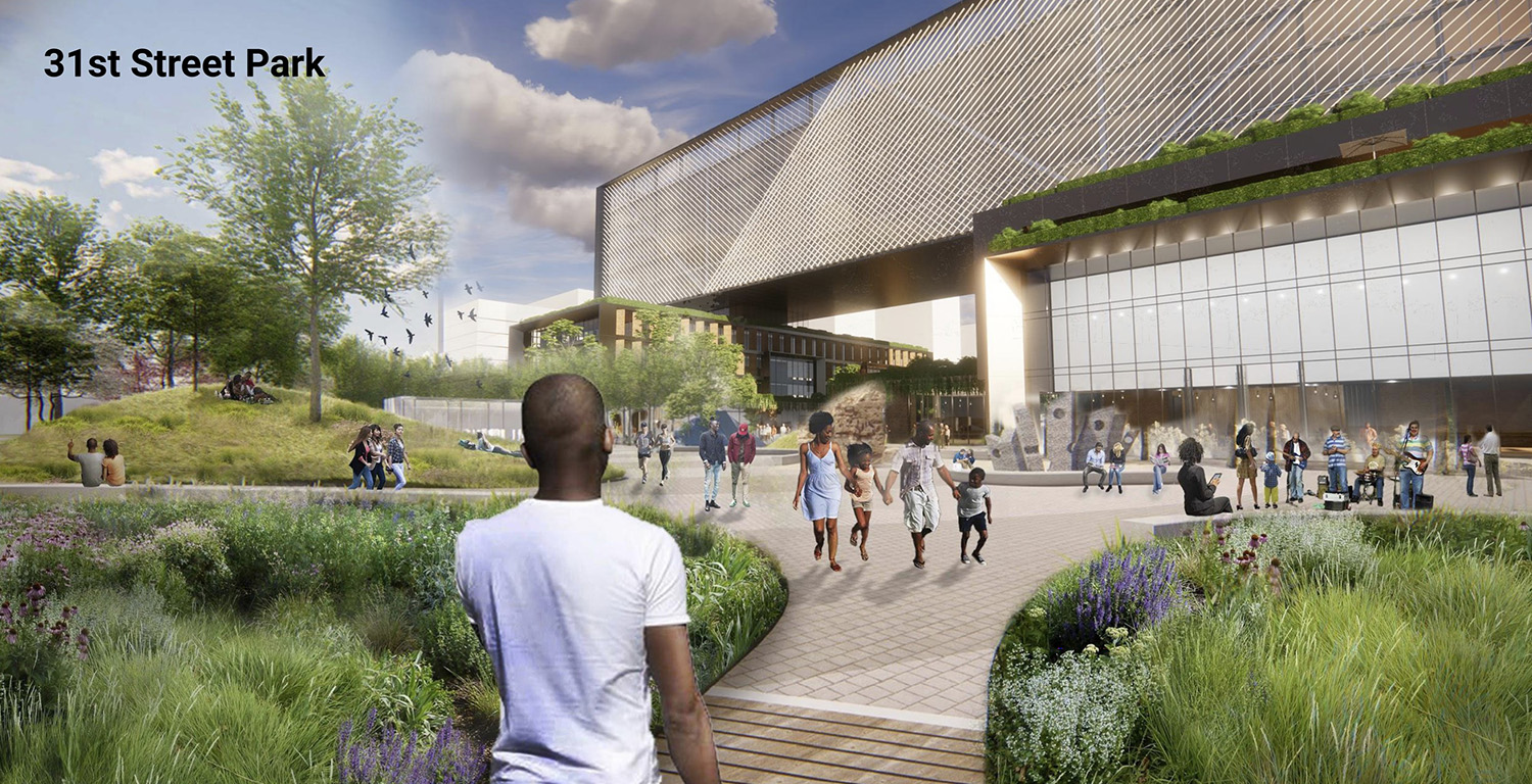 View of 31st Street Park at Bronzeville Lakefront Development Site. Rendering by GRIT Chicago