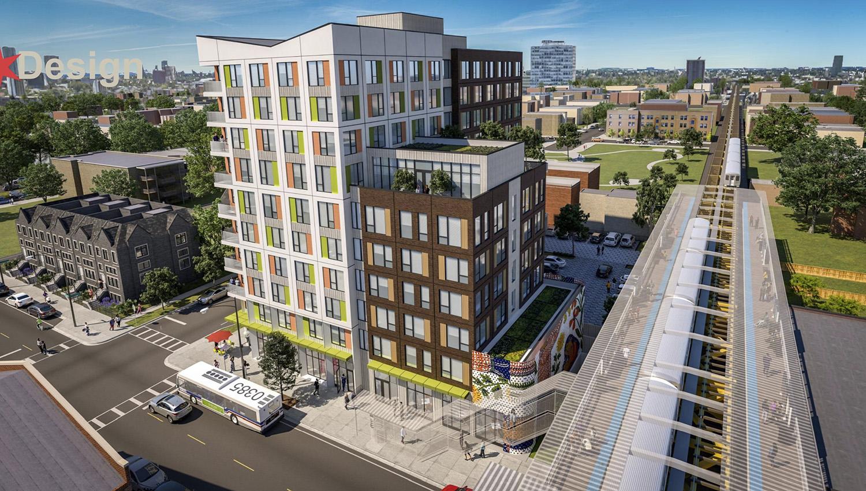 View of 43Green Development. Rendering by Landon Bone Baker Architects