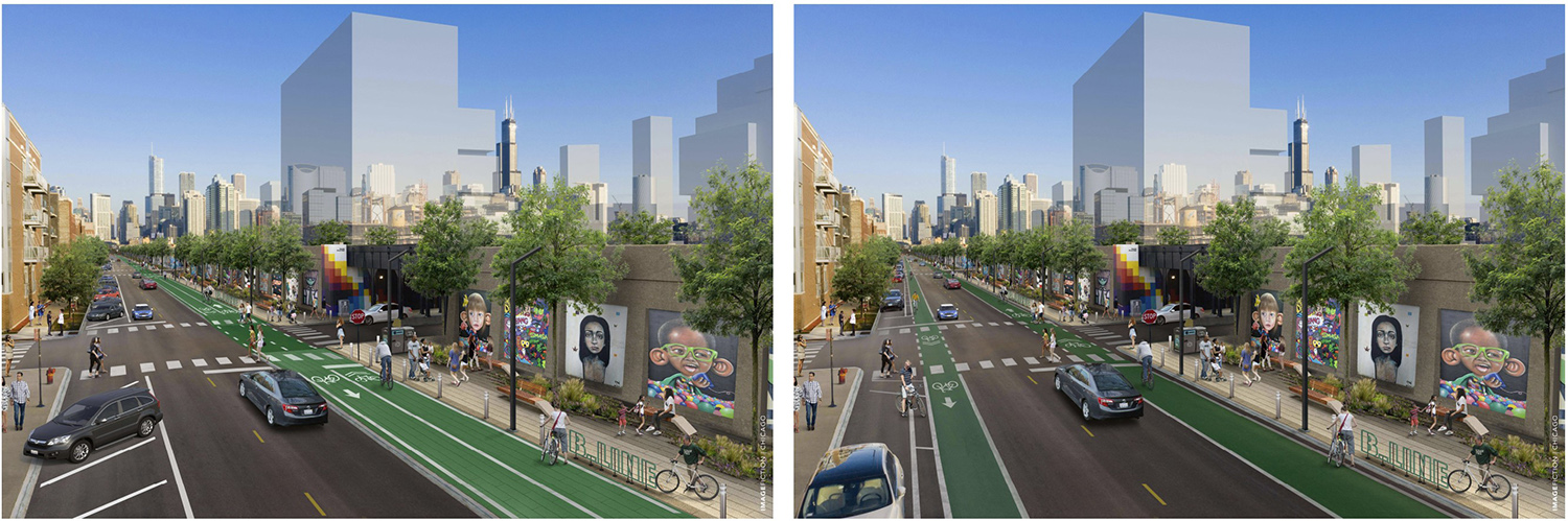 W Hubbard Street Proposed Improvements. Renderings by DPD