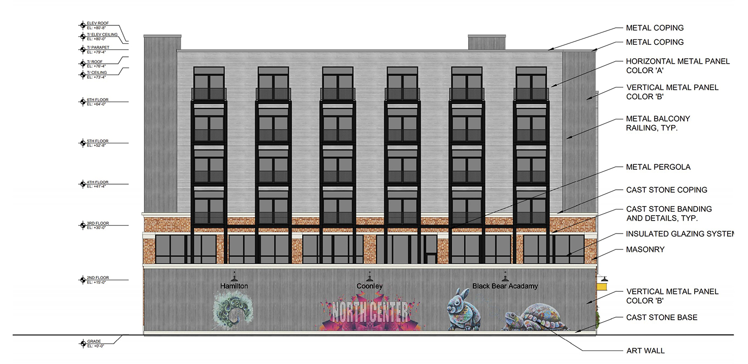 West Elevation of 1800 W Berenice Avenue. Drawing by Sullivan Goulette Wilson Architects