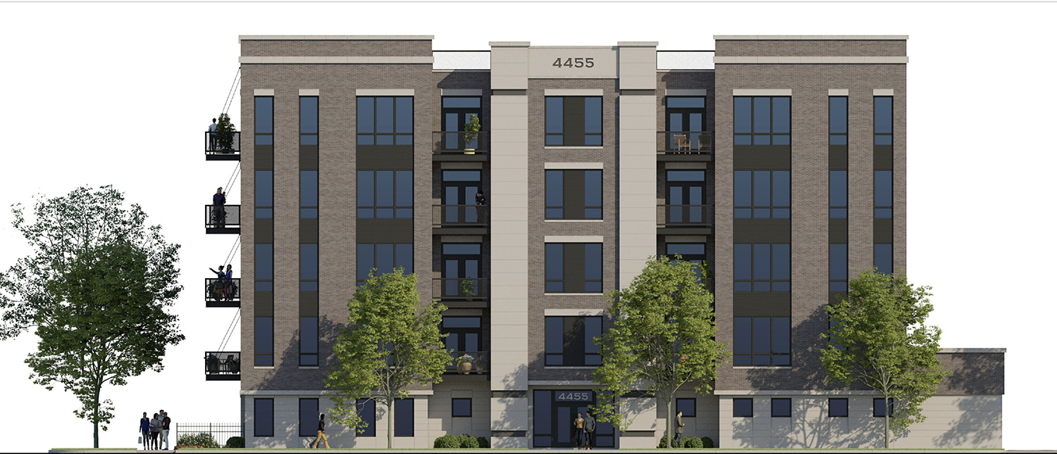 West Elevation of 4447 N Hazel Street. Rendering by SPACE Architects + Planners