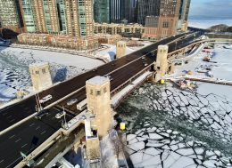 Navy Pier Flyover converging with DuSable Bridge