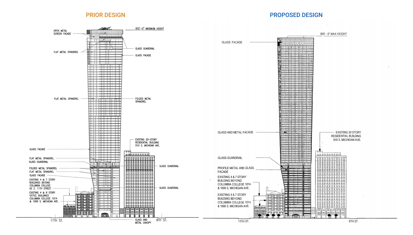 East elevations of original design and proposed design
