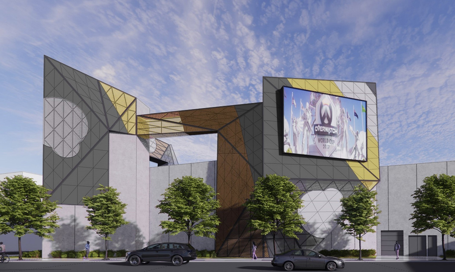 View of Surge eSports Stadium at 2500 S Wabash Avenue. Rendering by KOO Architecture