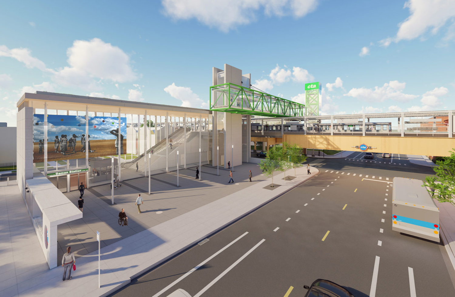 Aerial View of Damen CTA Green Line Station. Rendering by Perkins + Will