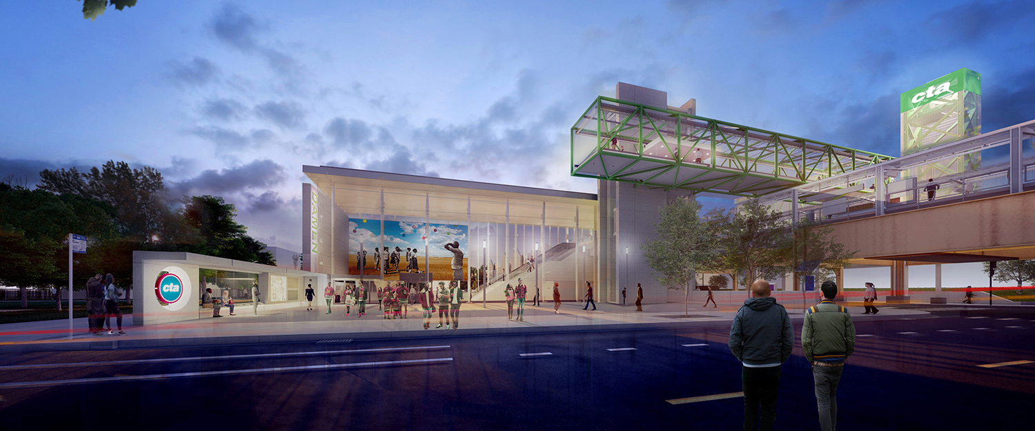 Damen CTA Green Line Station. Rendering by Perkins + Will