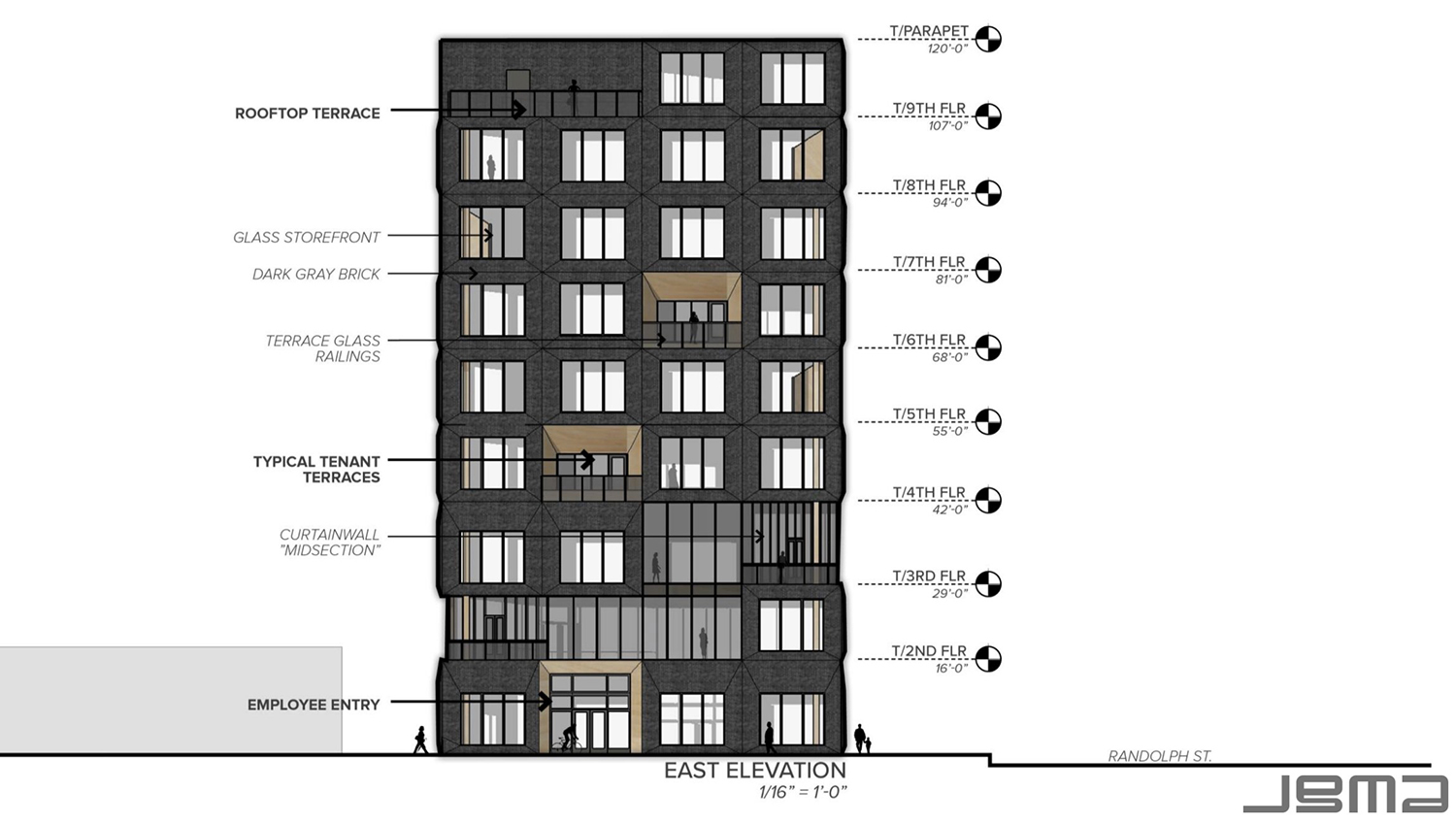 East Elevation for 1229 W Randolph Street. Drawing by JGMA