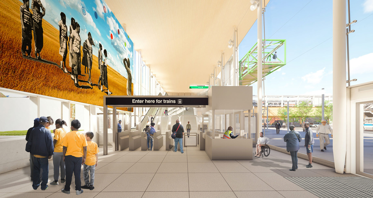 Entry to Damen CTA Green Line Station. Rendering by Perkins + Will