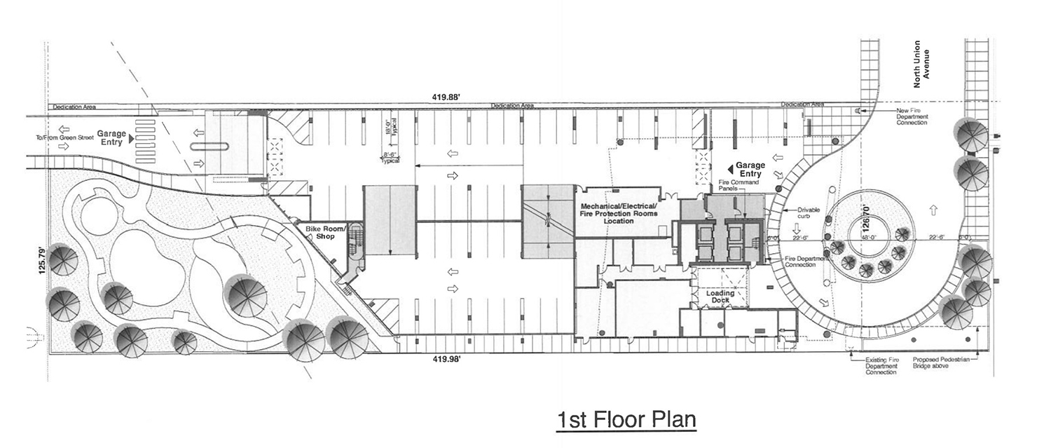 First Floor Plan for 354 N Union Avenue. Drawing by Pappageorge Haymes