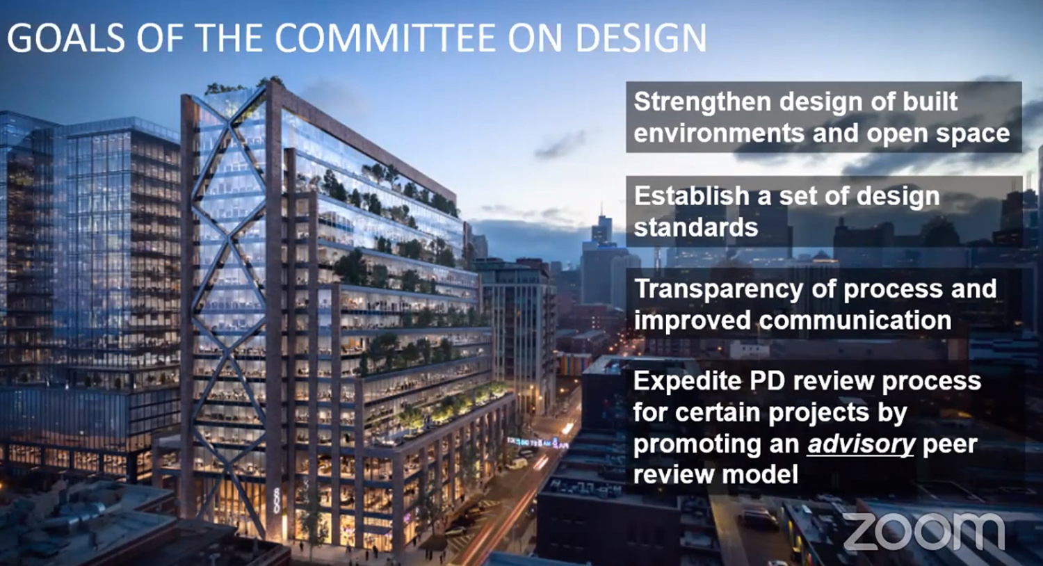 Goals of Committee on Design. Slide by Department of Planning and Development