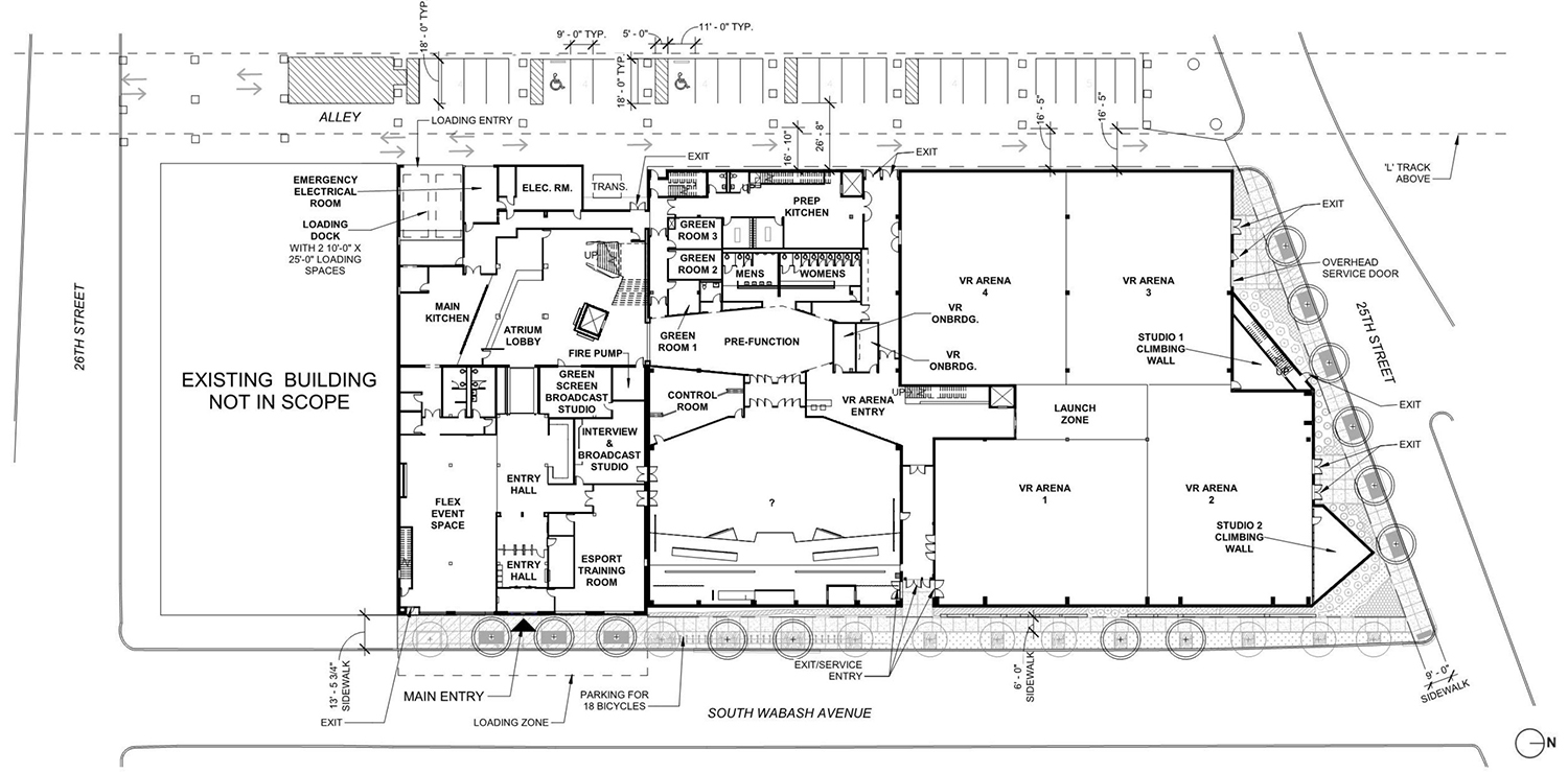 Ground Floor Plan for Surge eSports Stadium at 2500 S Wabash Avenue. Drawing by KOO Architecture