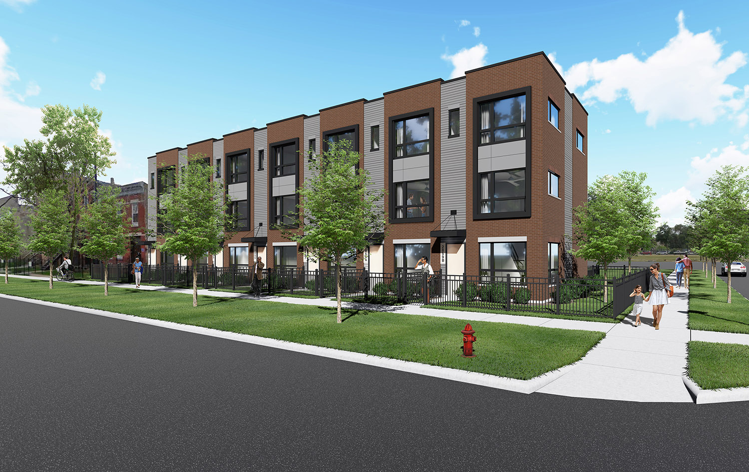 Harrison Row Townhomes. Rendering by Axios Architects